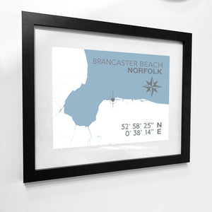 Brancaster Beach Map Travel Print- Coastal Wall Art /Poster-SeaKisses