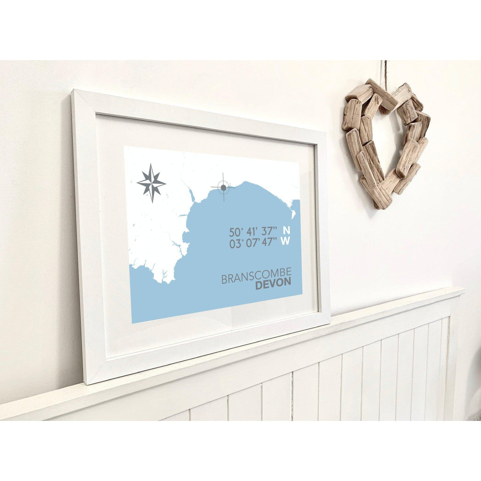 Branscombe Map Travel Print- Coastal Wall Art /Poster-SeaKisses