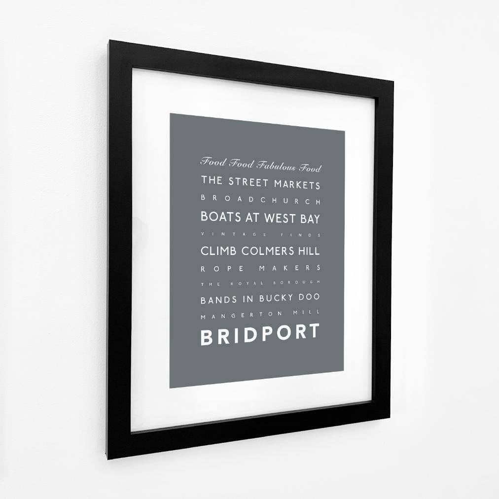 Bridport Typographic Travel Print/Poster Coastal Wall Art by SeaKisses