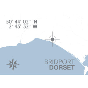 Bridport Map Travel Print- Coastal Wall Art /Poster-SeaKisses