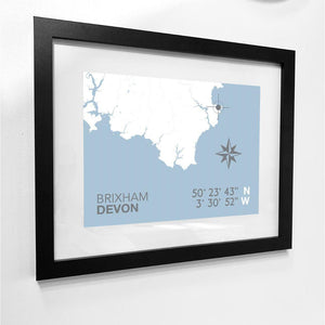 Brixham Map Travel Print- Coastal Wall Art /Poster-SeaKisses