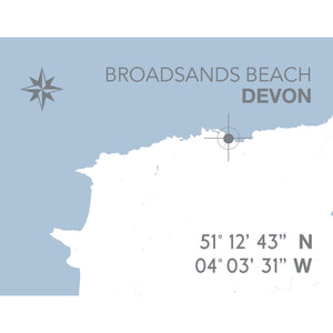 Broadsands Beach Map Travel Print- Coastal Wall Art /Poster-SeaKisses