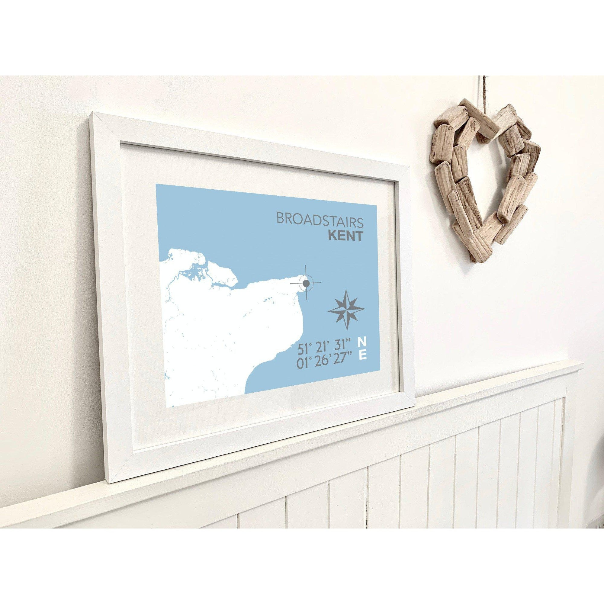 Broadstairs Map Seaside Print - Coastal Wall Art /Poster-SeaKisses