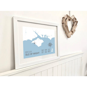 Brook Map Travel Print- Coastal Wall Art /Poster-SeaKisses