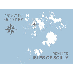 Bryher, Isles of Scilly Map Travel Print- Coastal Wall Art /Poster-SeaKisses
