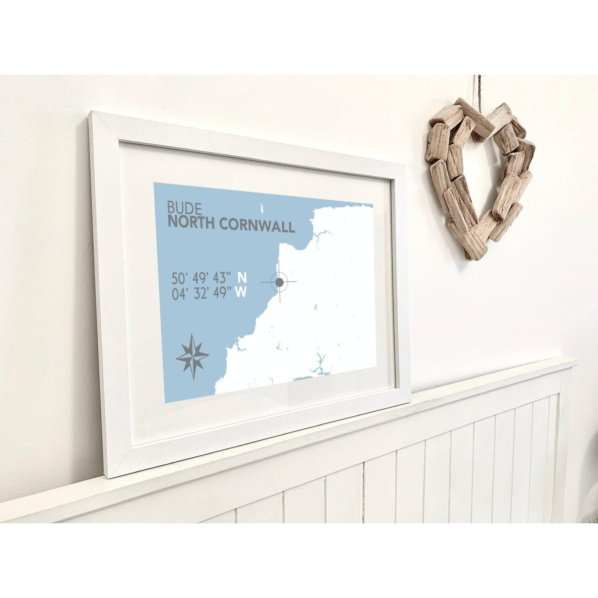 Bude Map Travel Print- Coastal Wall Art /Poster-SeaKisses