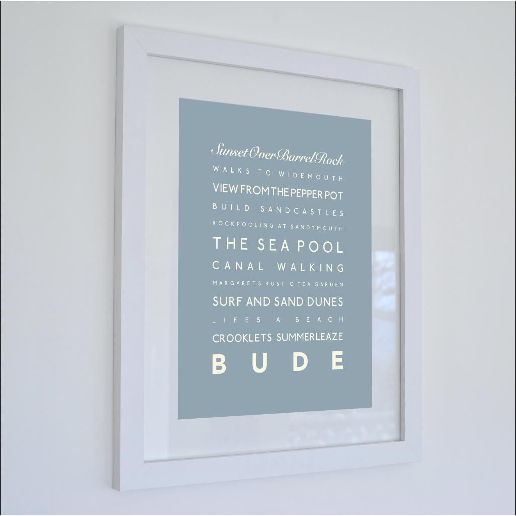 Bude Typographic Travel Print- Coastal Wall Art /Poster-SeaKisses