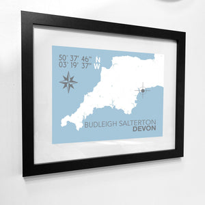 Budleigh Salterton Map Travel Print- Coastal Wall Art /Poster-SeaKisses