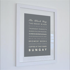 Bungay Typographic Travel Print- Coastal Wall Art /Poster-SeaKisses