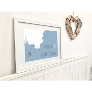 Burgh Island Map Travel Print- Coastal Wall Art /Poster-SeaKisses
