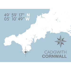 Cadgwith Map Travel Print- Coastal Wall Art /Poster-SeaKisses
