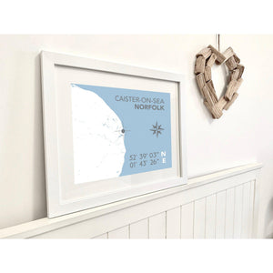 Caister-on Sea Map Travel Print- Coastal Wall Art /Poster-SeaKisses