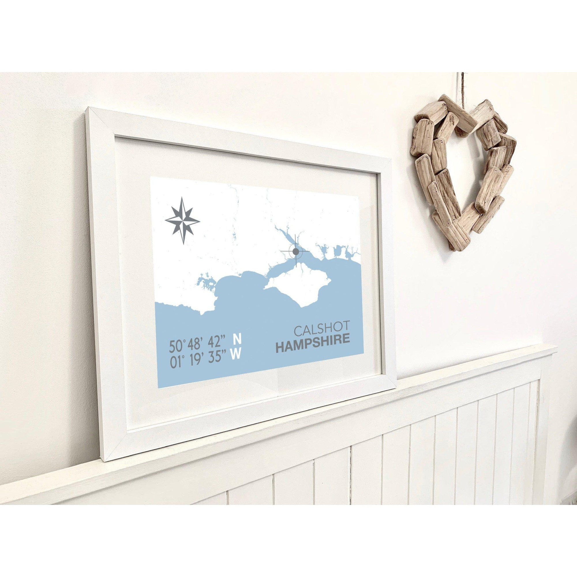 Calshot Map Travel Print- Coastal Wall Art /Poster-SeaKisses