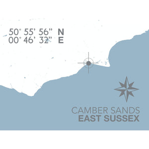 Camber Sands Map Travel Print- Coastal Wall Art /Poster-SeaKisses