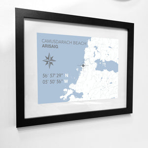 Camusdarach Beach Map Travel Print- Coastal Wall Art /Poster-SeaKisses