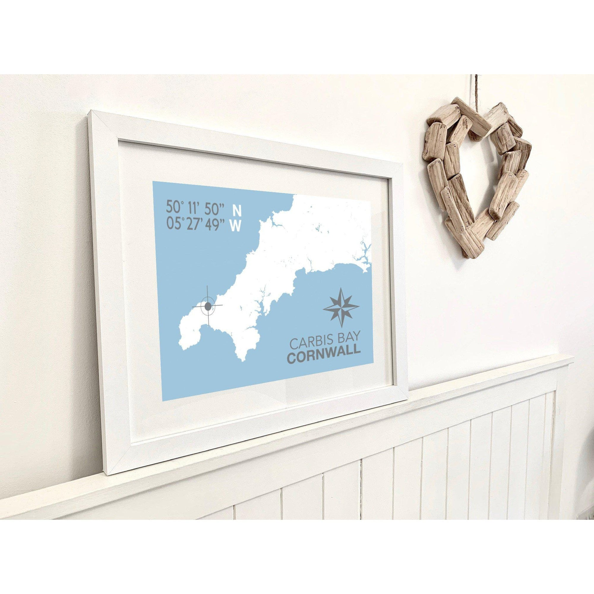 Carbis Bay Map Travel Print- Coastal Wall Art /Poster-SeaKisses