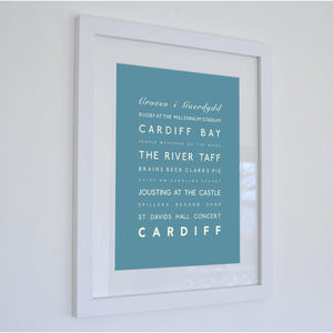 Cardiff Typographic Travel Print- Coastal Wall Art