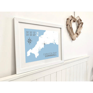 Carlyon Bay Map Travel Print- Coastal Wall Art /Poster-SeaKisses