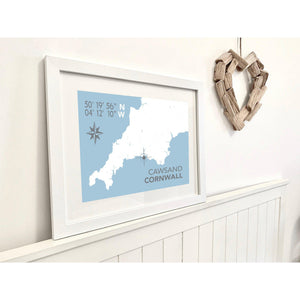 Cawsand Map Travel Print- Coastal Wall Art /Poster-SeaKisses