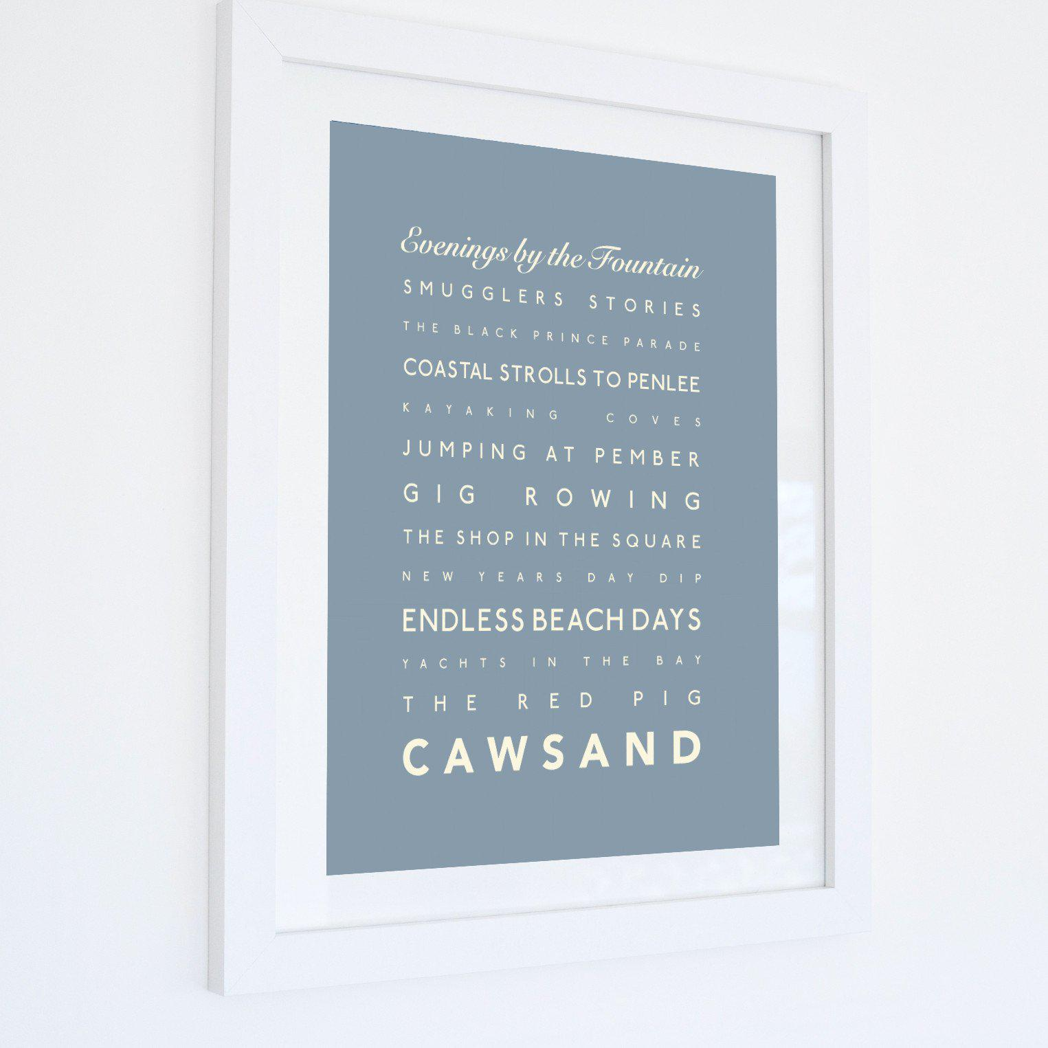 Cawsand Typographic Travel Print- Coastal Wall Art /Poster-SeaKisses