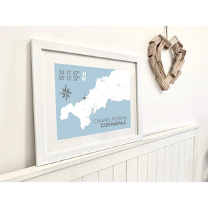 Chapel Porth Map Travel Print- Coastal Wall Art /Poster-SeaKisses