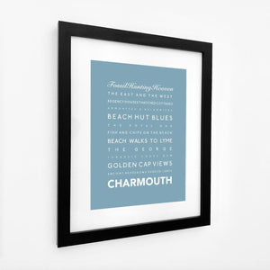 Charmouth Typographic Print- Coastal Wall Art /Poster-SeaKisses