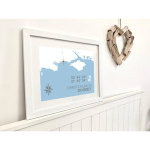 Christchurch Map Travel Print- Coastal Wall Art /Poster-SeaKisses