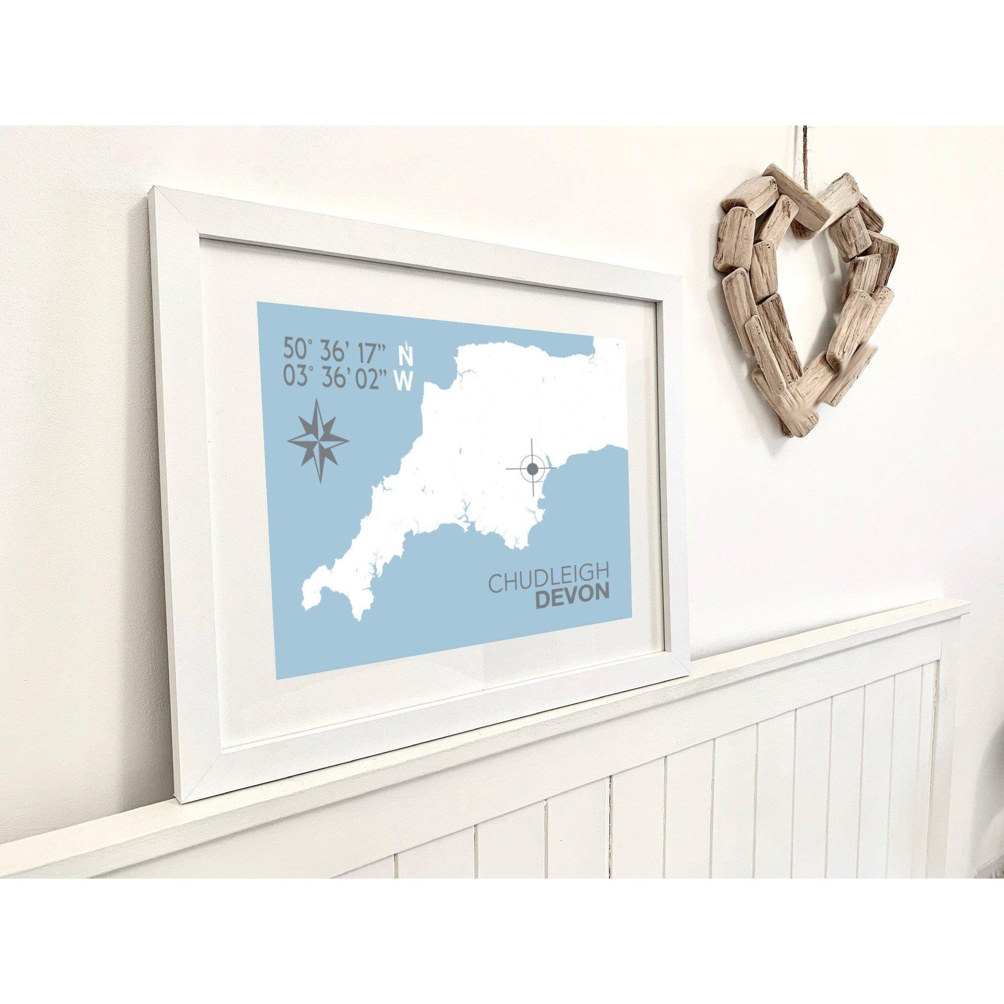 Chudleigh Map Travel Print- Coastal Wall Art /Poster-SeaKisses