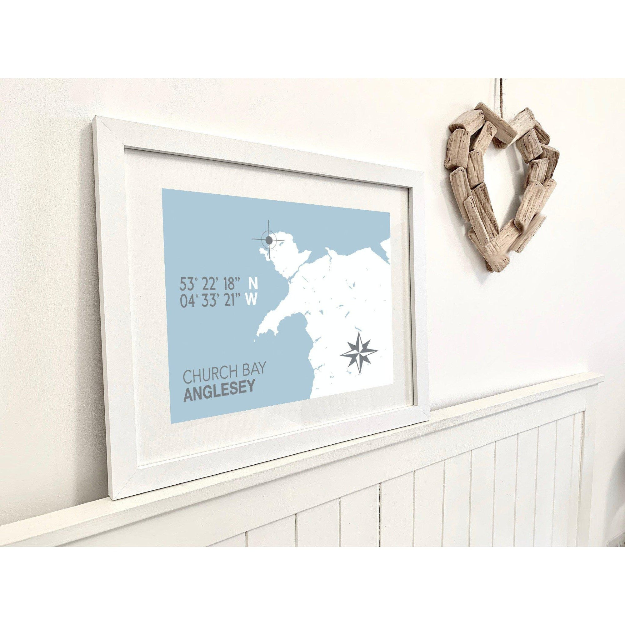 Church Bay, Anglesey Nautical Map Seaside Print - Coastal Wall Art /Poster-SeaKisses