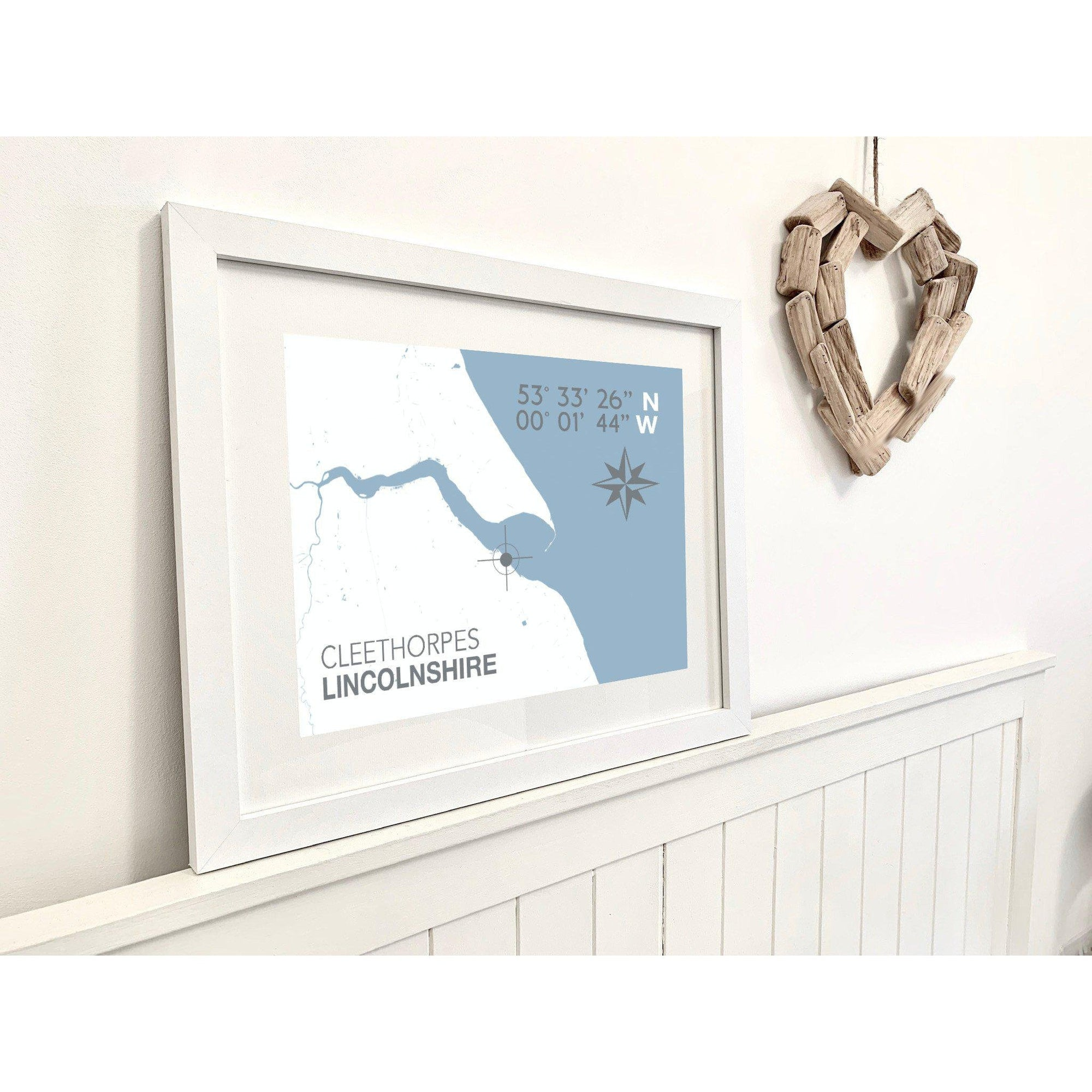 Cleethorpes Map Travel Print- Coastal Wall Art /Poster-SeaKisses