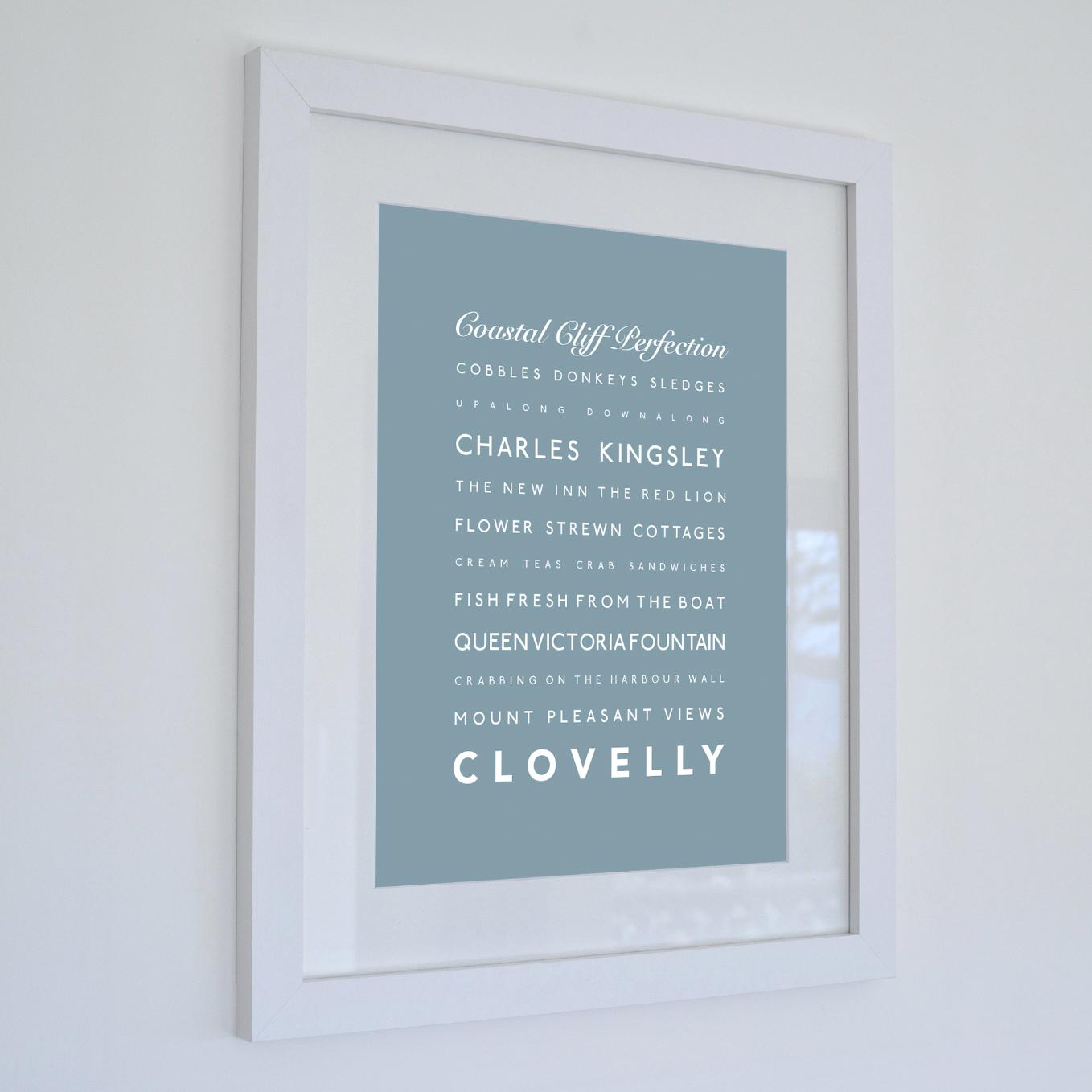 Clovelly Typographic Print - Coastal Wall Art /Poster-SeaKisses