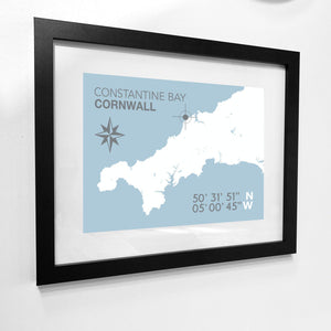 Constantine Bay Map Travel Print- Coastal Wall Art /Poster