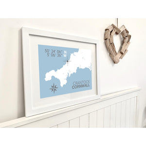 Crantock Map Travel Print- Coastal Wall Art /Poster-SeaKisses