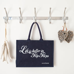 Life is Better in Flip Flops Jute Shoulder Bag - TWO colours-SeaKisses