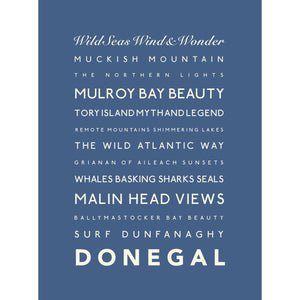 Donegal Typographic Travel Print- Coastal Wall Art /Poster-SeaKisses