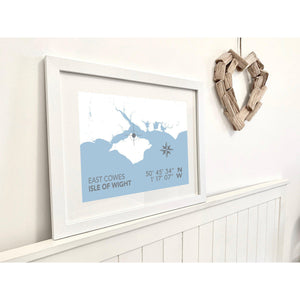 East Cowes Map Travel Print- Coastal Wall Art /Poster-SeaKisses