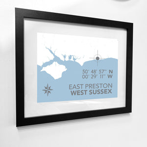 East Preston Map Travel Print- Coastal Wall Art /Poster-SeaKisses
