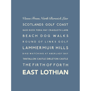 East Lothian Typographic Travel Print- Coastal Wall Art /Poster-SeaKisses