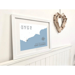 Eastbourne Map Travel Print- Coastal Wall Art /Poster-SeaKisses