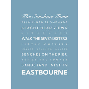 Eastbourne Typographic Print- Coastal Wall Art /Poster-SeaKisses