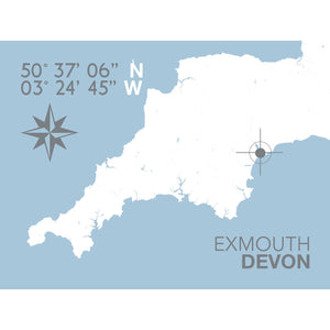 Exmouth Map Travel Print- Coastal Wall Art /Poster-SeaKisses