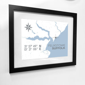 Felixstowe Nautical Map Print - Coastal Wall Art /Poster-SeaKisses