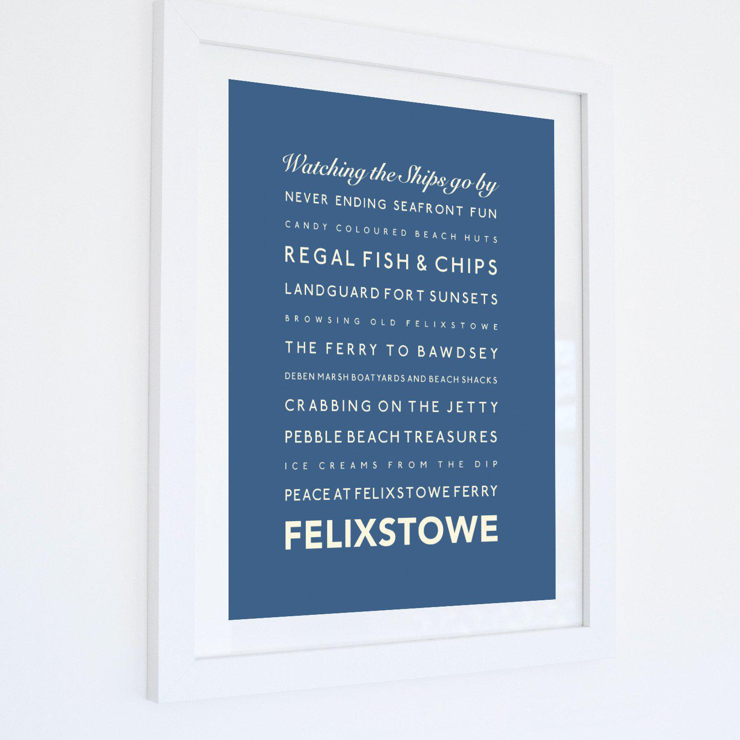 Felixstowe Typographic Travel Print- Coastal Wall Art /Poster-SeaKisses
