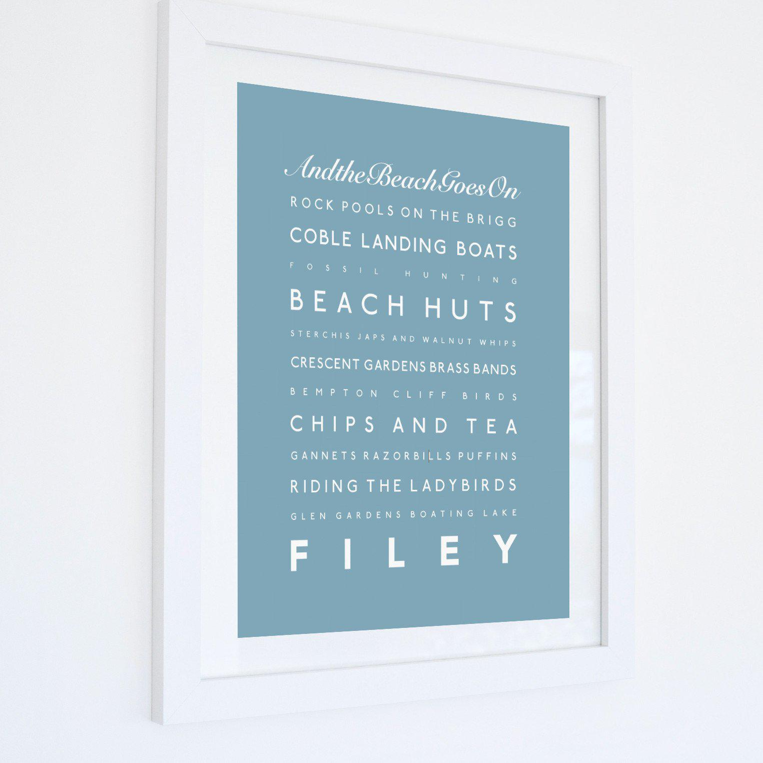 Filey Typographic Seaside Print - Coastal Wall Art /Poster-SeaKisses