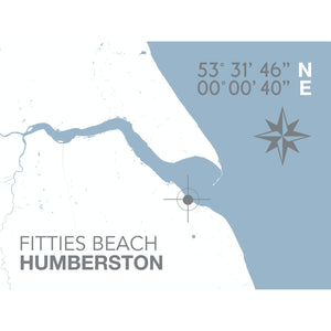 Humberston Fitties Beach Map Travel Print- Coastal Wall Art /Poster-SeaKisses