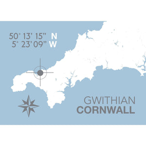 Gwithian Map Print - Coastal Wall Art /Poster-SeaKisses