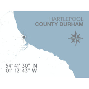 Hartlepool Map Travel Print - Coastal Wall Art /Poster-SeaKisses