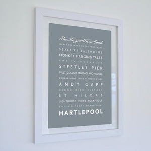 Hartlepool Typographic Seaside Print - Coastal Wall Art /Poster-SeaKisses
