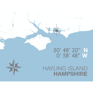 Hayling Island Map Travel Print- Coastal Wall Art /Poster-SeaKisses