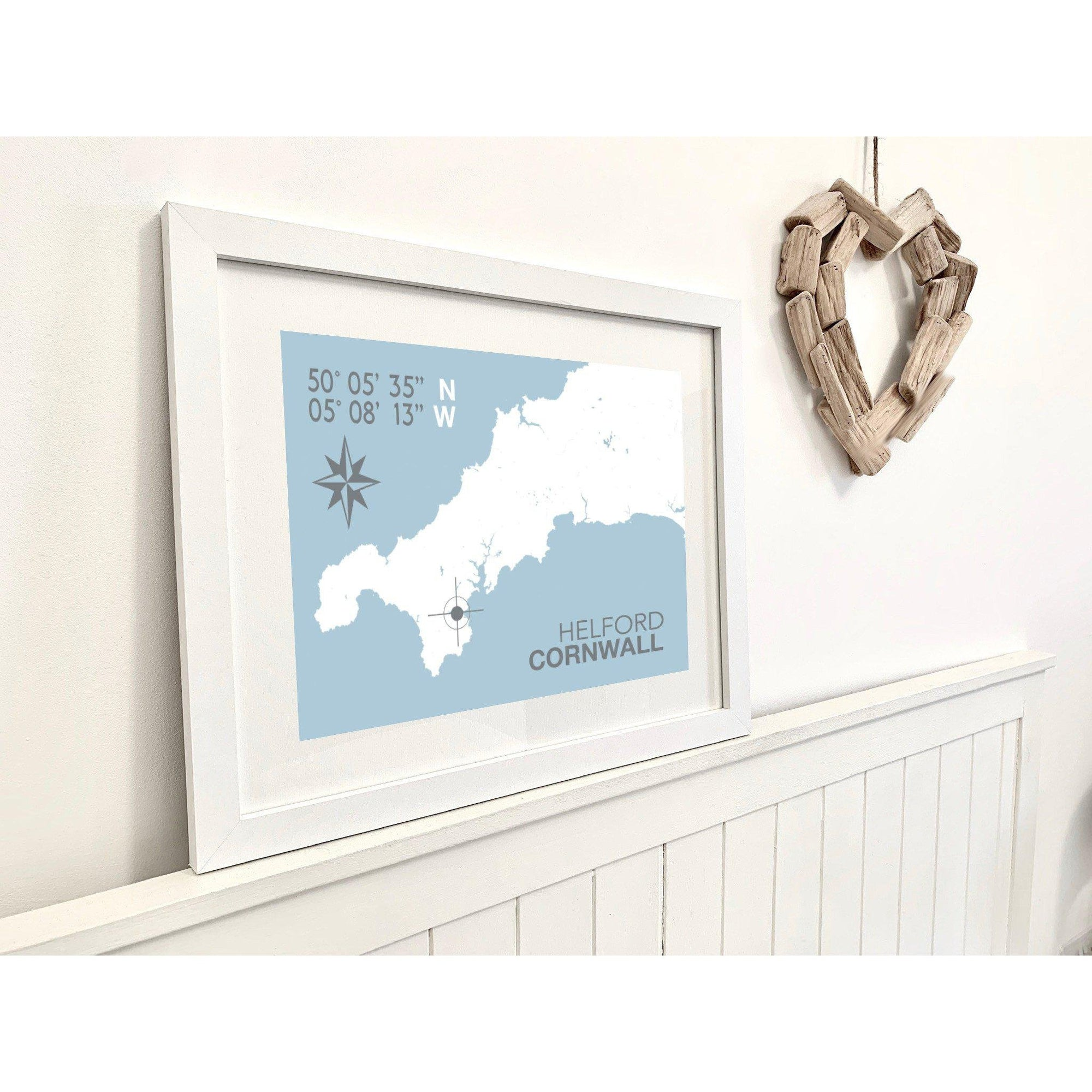 Helford Village Map Travel Print- Coastal Wall Art /Poster-SeaKisses
